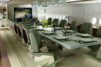 dinner table on board private jet